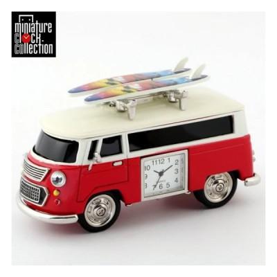 ミニチュアクロックコレクション Miniature Clock Collection ミニチュア置時計 車 バス サーフボード レッド  ギフト C3159KP238-RD(ミニバス・ワゴンカー)