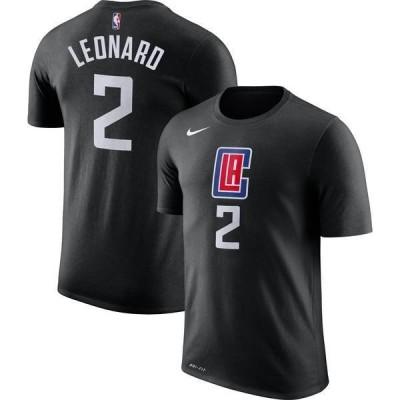 ナイキ メンズ Tシャツ トップス Nike Men's Los Angeles Clippers Kawhi Leonard #2 Dri-FIT Statement Black T-Shirt