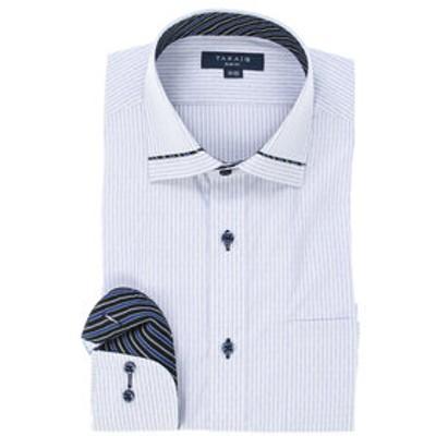 形態安定スリムフィット ワイドカラー衿切替長袖ビジネスドレスシャツ