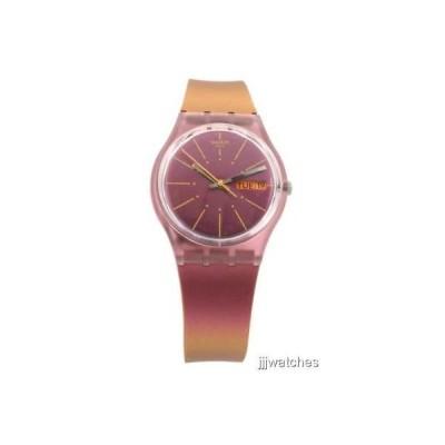 腕時計 スウォッチ Swatch Originals SNEAKY PEAKY Iridescent Silicone Day-Date Watch 34mm GP701