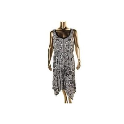 ドレス 女性  スタイルアンドコー スタイル & Co. 6602 レディース B/W Asyミリetric プリントed Maxi ドレス Plus 3X