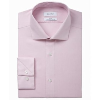 Calvin Klein カルバンクライン ファッション ドレス Calvin Klein NEW Pink Mens Size 17 Slim Fit Performance Dress Shirt