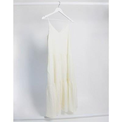 アンドアザーストーリーズ & Other Stories レディース ワンピース キャミワンピ ティアードドレス tiered cami midi dress in off-white グレー