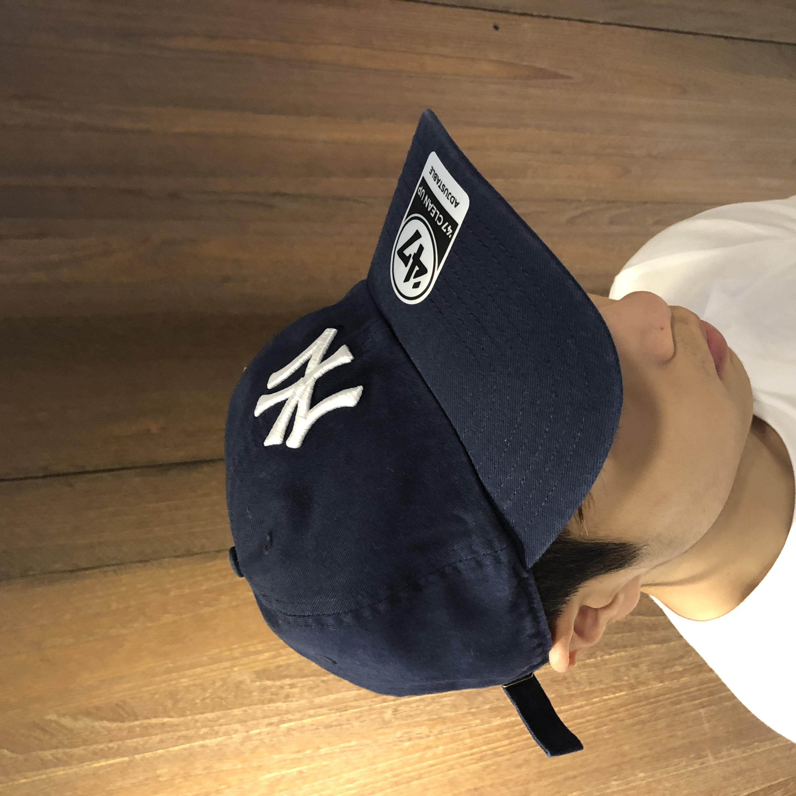 美國百分百【47 Brand】CLEAN UP 帽子 老帽 棒球帽 紐約洋基 大聯盟 MLB 深藍/黑色 AD65