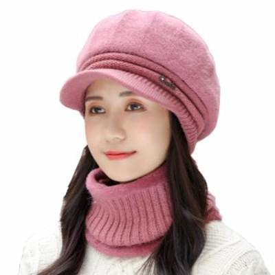 レディースファッション 2点セット 秋冬春 7色 帽子 ニットキャスケット+スヌード 厚手 裏毛 防寒 柔らか ラビットファー かわいい おし