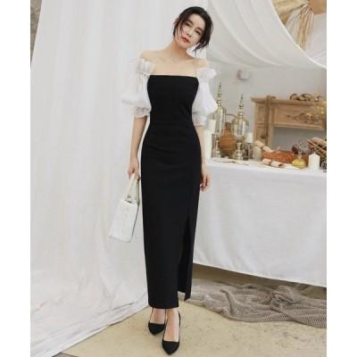 オフショルダー パーティードレス イブニングドレス 黒 大きいサイズ 二次会 結婚式 ワンピース レディース フォーマル ワンピース スリット セクシー