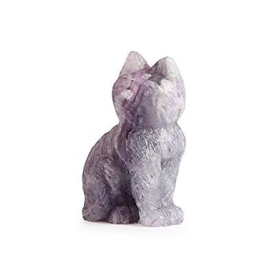 Artistone 2インチ 猫の置物 レインボー 蛍石 手彫り 宝石 ヒーリング クリスタル フィギュア 動物コレクション 像 パック ギフトボック 並行輸入品
