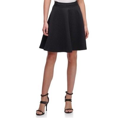 ダナ キャラン ニューヨーク レディース スカート ボトムス Textured Snake Jacquard Ponte Knit Logo Waistband Circle Skirt Black