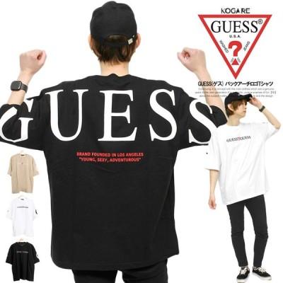 【メール便で送料無料】 GUESS(ゲス) ビッグTシャツ メンズ 半袖 オーバーサイズ バックプリント ロゴ プリント クルーネック カットソー