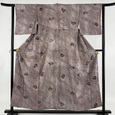 小紋 優品 幾何学 総絞り 紫 袷 身丈154.5cm 裄丈62cm S 正絹 中古