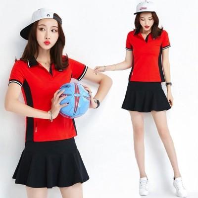 レディースポロシャツ半袖セットアップトップスゴルフウェアシャツインナー付きスカートおしゃれファッション2020スポーツウェアゴルフ