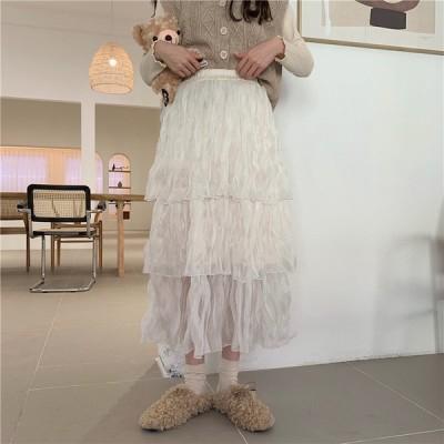スカート ロング 透け感 フリル ガーリー フェミニン きれいめ カジュアル 大人可愛い 韓国ファッション