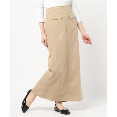スカート タッサーフラップポケットタイトロングマキシスカートペンシルスカート