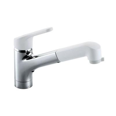 LIXIL(リクシル) INAX キッチン用 台付 ハンドシャワー付シングルレバー混合水栓 エコハンドル 整流 スポット微細シャワー ホース引出し R