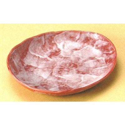 赤彩花シリーズ楕円中皿  (楕円皿・盛皿)