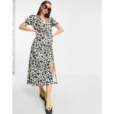 リバーアイランド River Island レディース ワンピース ミドル丈 ワンピース・ドレス Leopard Print Button Through Midi Dress In Brown