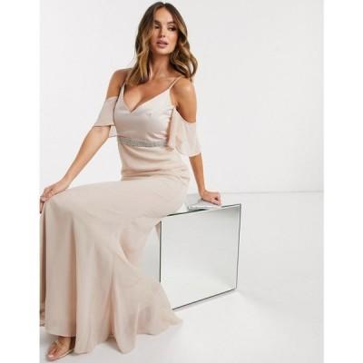 ミスガイデッド Missguided レディース パーティードレス ワンピース・ドレス angel sleeve bridesmaid dress in light pink ピンク