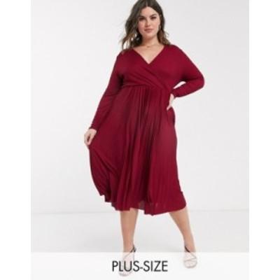 リバーアイランド レディース ワンピース トップス River Island Plus pleated wrap midi dress in burgundy Burgundy