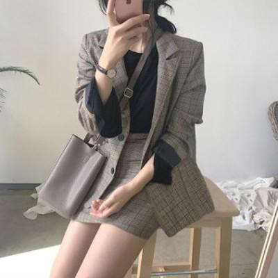 セットアップ スーツ スカート ジャケット タイトスカート オフィス カジュアル チェック柄 MH0396