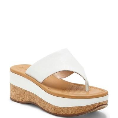コルソ コモ レディース サンダル シューズ Arowin Leather Thong Cork Platform Wedge Sandals
