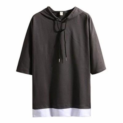 Hisitosa Tシャツ メンズ 半袖 無地 七分袖 パーカー おしゃれ 大きいサイズ カットソートップス フード付き インナー 春 夏 ゆったり カ