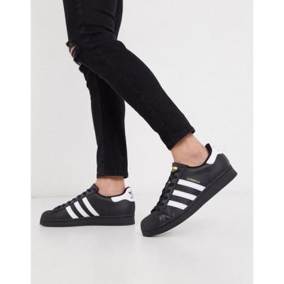 アディダスオリジナルス メンズ スニーカー シューズ adidas Originals new superstar sneakers in black Black