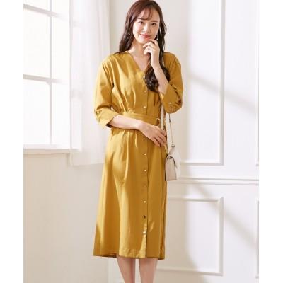 上質ポプリン素材◎すっきり見せるロングワンピース(ベルト付) (ワンピース)Dress