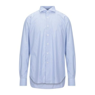 GRIGIO ストライプ柄シャツ  メンズファッション  トップス  シャツ、カジュアルシャツ  長袖 スカイブルー