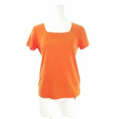 【中古】未使用品 ヨシエイナバ yoshie inaba Tシャツ カットソー スクエア 半袖 ロゴ 刺繍 7 オレンジ /CK12