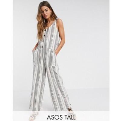 エイソス ASOS Tall レディース オールインワン ダンガリー ジャンプスーツ ASOS DESIGN Tall button front dungaree jumpsuit in washed