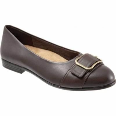 トロッターズ Trotters レディース スリッポン・フラット シューズ・靴 Aubrey Ballet Flat Dark Brown Soft Nappa Leather