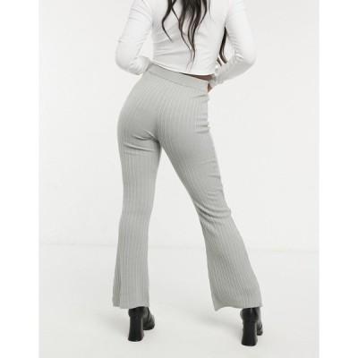エイソス レディース カジュアルパンツ ボトムス ASOS DESIGN knitted flare pant in light gray Light gray