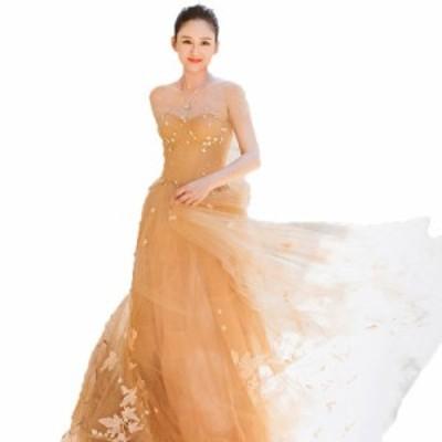 フラワー刺繍 シフォン ロングフレアドレス 透け感 シースルー チュール ふんわりシルエット フェミニン ワントーンカラー 大人レディ
