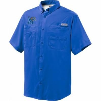 コロンビア Columbia メンズ 半袖シャツ トップス Memphis Tigers Blue Button-Down Performance Short Sleeve Shirt
