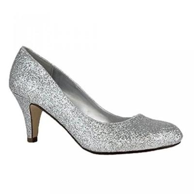 シティークラッシフィード レディース パンプス City Classified Silver Glitter Classic Round Toe Med Heel Pumps