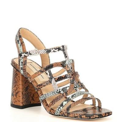 アントニオ メラーニ レディース サンダル シューズ Blison Snake Print Leather Dress Sandals