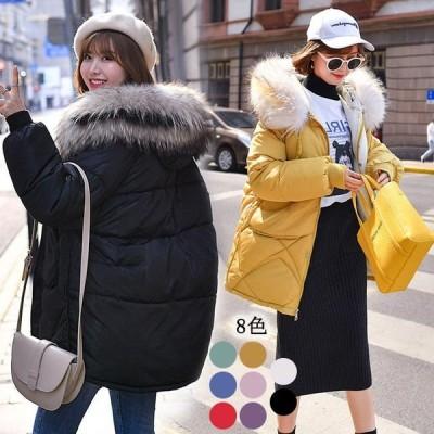 ダウンコート 暖かい 冬 中綿コート レディース ファー襟 ショート丈 コート フード付き 軽量 中綿入れ ジャケット 大きいサイズ アウター ダウンジャケット