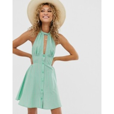 エイソス レディース ワンピース トップス ASOS DESIGN halterneck mini sundress with button front in stripe Green stripe