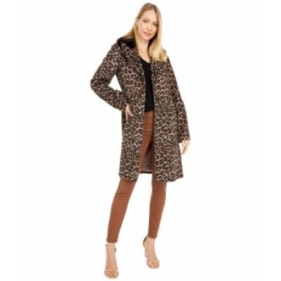 ケイトスペード レディース コート アウター Leopard Wool Coat w/ Faux Fur Collar Leopard