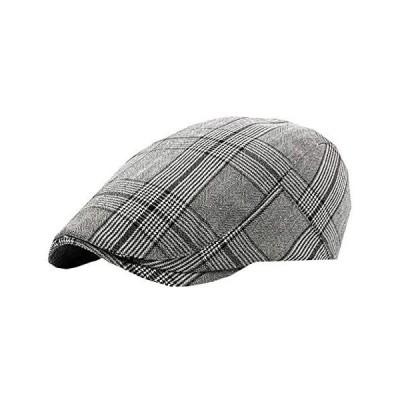 WHITE FANG(ホワイトファング) ハンチング 帽子 キャップ チェック おしゃれ かっこいい ゴルフ カジュアル(02:グレー サイズ)