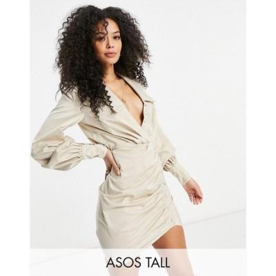 エイソス ASOS Tall レディース ワンピース ミニ丈 ワンピース・ドレス Asos Design Tall Button Detail Shirt Mini Dress With Ruched Skirt In Sand サンド
