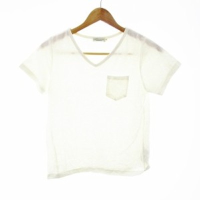 【中古】アースミュージック&エコロジー PremiumLabel Tシャツ カットソー 半袖 Vネック 無地 S 白