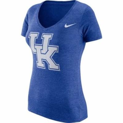 ナイキ Nike レディース Tシャツ Vネック トップス Kentucky Wildcats Blue Tri-Blend Logo V-Neck T-Shirt