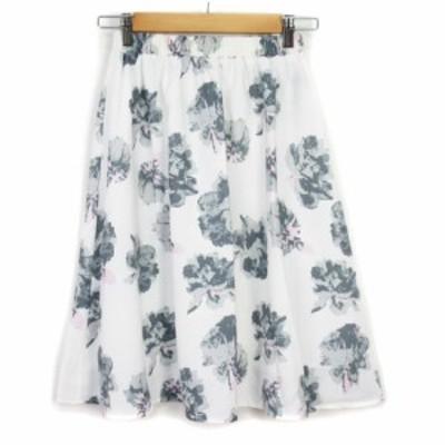【中古】セシルマクビー CECIL McBEE スカート フレア 花柄 シフォン M 白 ホワイト レディース