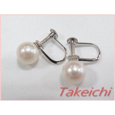 K14WG★イヤリング§パール ネジ式 一粒真珠 シンプル/H841