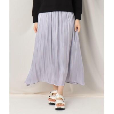 【クチュールブローチ】 オーロラサテンギャザースカート レディース サックス 38(M) Couture Brooch