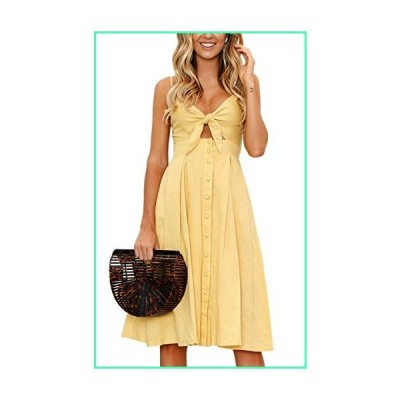 ECOWISH Womens Dress Summer Tie Front V-Neck Spaghetti Strap Button Down A-Line Backless Swing Midi Dress Yellow S並行輸入品