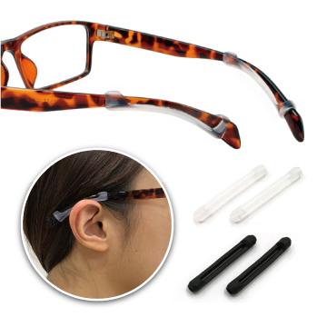 【KEL MODE】眼鏡配件-眼鏡專用矽膠防滑套 眼鏡止滑腿套/耳勾套*2副(黑色/透明)