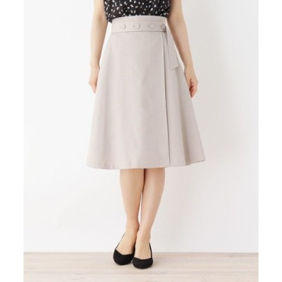 スカート 【洗える・42(LL)WEB限定サイズ】ボタンベルト風Aラインスカート
