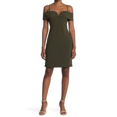 ベベ レディース ワンピース トップス Cold Shoulder Mini Dress OLIVE